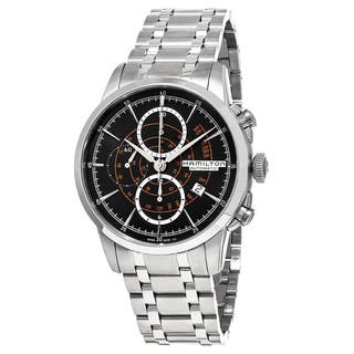Hamilton Men's H40656131 American Classic' Black Dial Stainless Steel Railroad Chronograph Swiss Aut|https://ak1.ostkcdn.com/images/products/11660296/P18590411.jpg?impolicy=medium