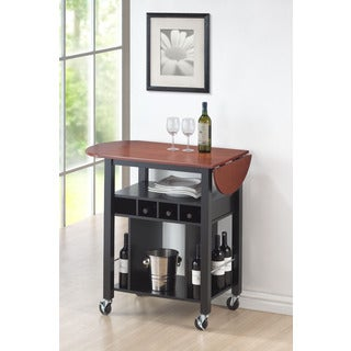 Black Cherry Drop Leaf Wine Serving Cart on Wheels