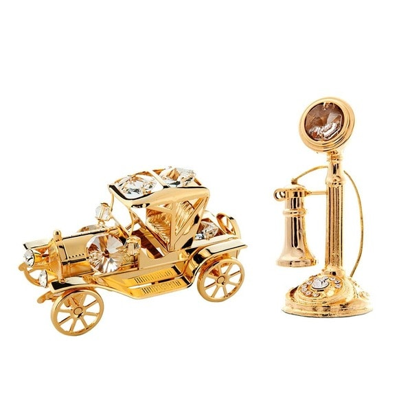 24K Gold Plated Vintage Telephone and Car Ornaments with Genuine Matashi Crystals