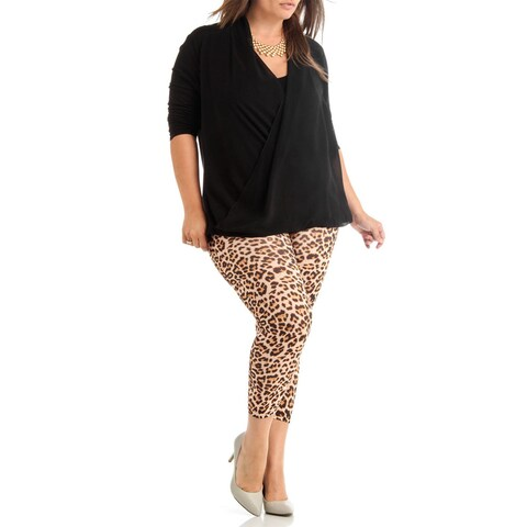 Dinamit Jeans Plus Size Leopard Print Ankle Leggings