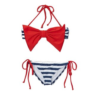 Dippin' Daisy's Girl's Navy Sailor Bow Bandeau Bikini