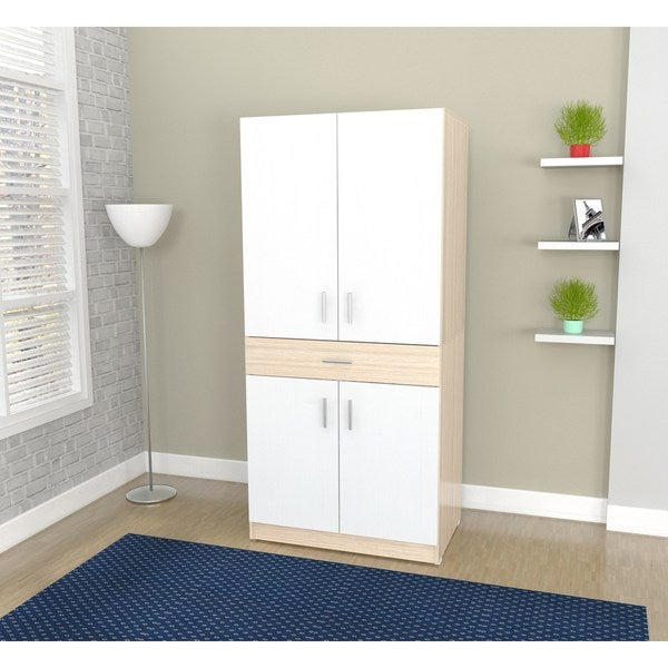 Inval Laricina-White/ Beech Computer Work Center - Free Shipping Today