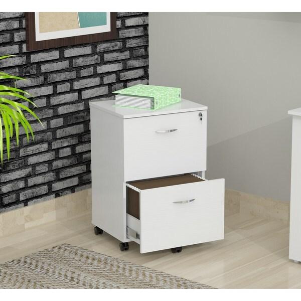 Inval Laricina-White Mobile File Cabinet