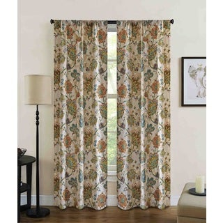 Jubilee Floral Rod Pocket Curtain Panel (Pair)