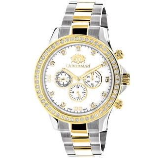 Luxurman Men's 18k Yellow and White Goldplated Stainless Steel Liberty 2ct TDW Diamond Swiss Quartz