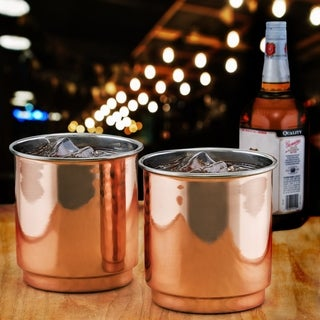 Plain Straight Sided Copper & Stainless Steel Whiskey Tumbler (Set of 2)