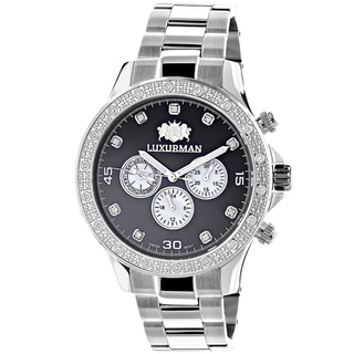 Luxurman Men's Stainless Steel Liberty 1/5ct TDW Diamond Black Mother of Pearl Swiss Quartz Watch