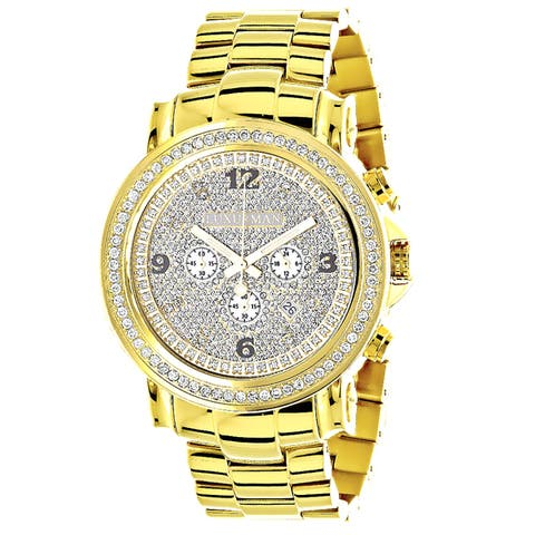 Luxurman Men's Yellow Goldplated Stainless Steel Large Iced Out 2 1/2Ct TDW Diamond Watch