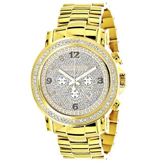 Luxurman Men's 18k Yellow Goldplated Stainless Steel Large Iced Out 2 1/2ct TDW Diamond Watch