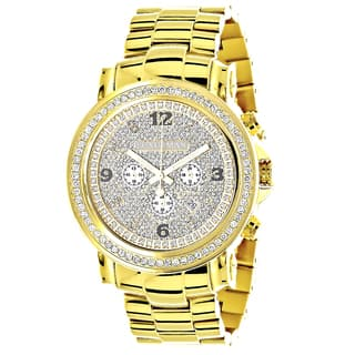 Luxurman Men's Yellow Goldplated Stainless Steel Large Iced Out 2 1/2ct TDW Diamond Watch|https://ak1.ostkcdn.com/images/products/11660381/P18590484.jpg?impolicy=medium