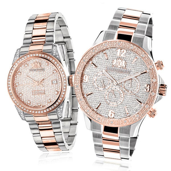 Shop Luxurman Matching Men's and Women's Rose Gold 1 3/4ct ...