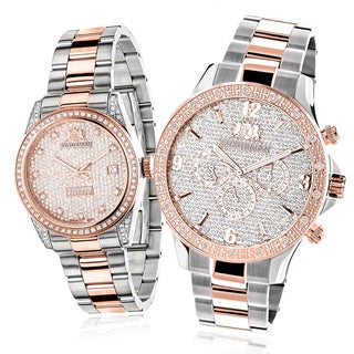 Luxurman Matching Men's and Women's Rose Gold 1 3/4ct TDW Diamond Watches (Set of 2)