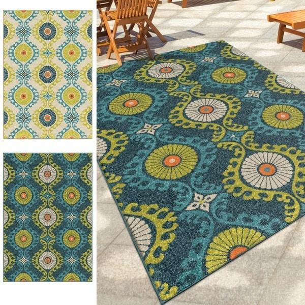 Carolina Weavers Indoor/Outdoor Santa Barbara Collection Fergana Multi Area Rug - 7'8 x 10'10