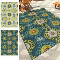 Carolina Weavers Indoor/Outdoor Santa Barbara Collection Fergana Multi Area Rug - 7'8 x 10'10