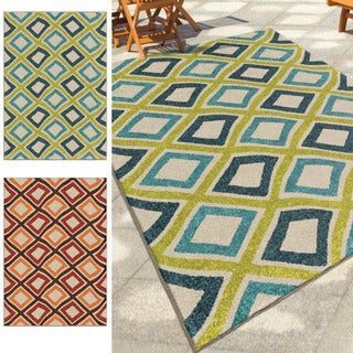Carolina Weavers Indoor/Outdoor Santa Barbara Collection Funhouse Diamonds Multi Area Rug (5'2 x 7'6 - 5'2 x 7'6
