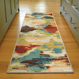Carolina Weavers Brighton Collection Fingerpainted Diamonds Multicolored Runner Rug (2'3 x 8')