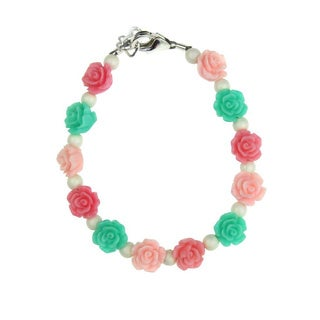 Flower Girl Mint, Pink and Rose Flowers with White Pearls Baby Bracelet
