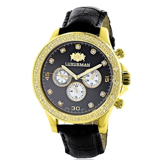 Luxurman Men's Black Leather Liberty 18k Yellow Goldplated 1/5ct TDW Diamond Black Mother of Pearl S