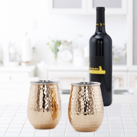 Hammered Solid Copper & Stainless Steel Stemless Wine Tumblers (2 Piece Set)