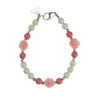 Flower Girl Pink Scattered Flowers with Coral Baby Pink and White Pearl Bracelet