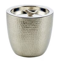 "1.5 Quart. ""Churp"" Hammered Double-Walled Stainless Steel Ice Bucket with Bird Knob"