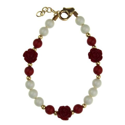 Crystal Dream Luxury Red Scattered Flowers with White and Red Pearl Baby Girl Bracelet Sterling Silv