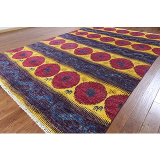 Hand-knotted Ikat Purple Wool Area Rug (9' x 12'5)