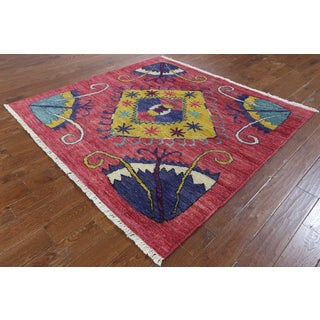Hand-knotted Kaitag Pink Wool Area Rug (6'2 x 6'5)