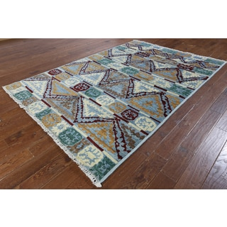 Hand-knotted Ikat Blue Wool Area Rug (5'9 x 8'4)