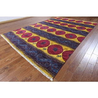 Hand-knotted Ikat Multi-color Wool Area Rug (8'10 x 9')