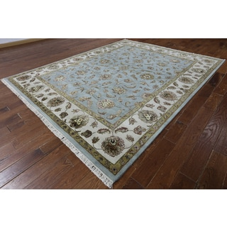Hand-knotted Rajasthan Blue and White Wool and Silk Area Rug (8'1 x 10'1)