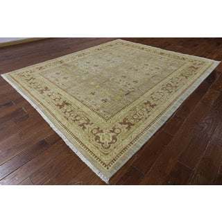 Hand-knotted Chobi Khaki Wool Area Rug (8'6 x 9'9)