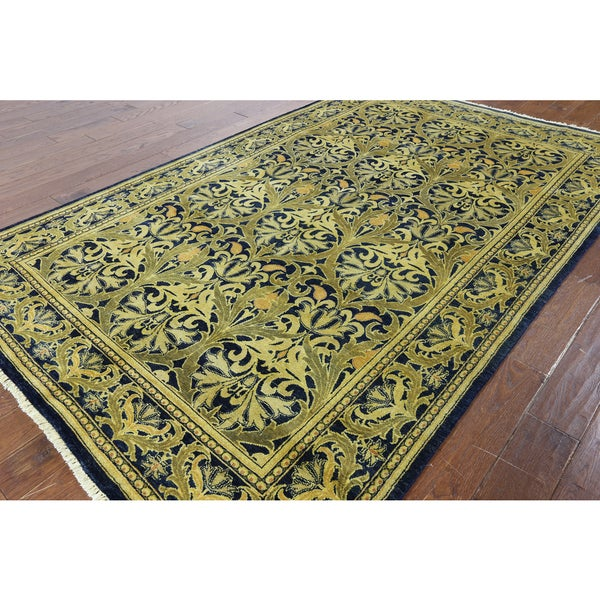 Hand Knotted Peshawar Navy Blue Wool Area Rug 6 X27