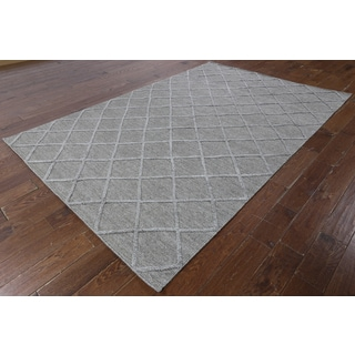 Hand-knotted Moroccan Wool and Silk Grey Area Rug (6'1 x 9'1)