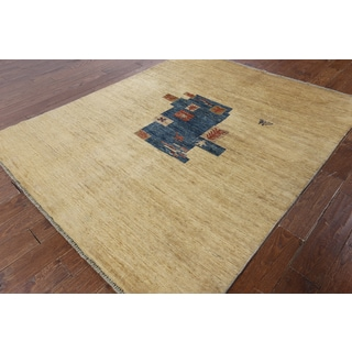 Hand-knotted Gabbeh Tan Wool Area Rug (6'1 x 7'2)
