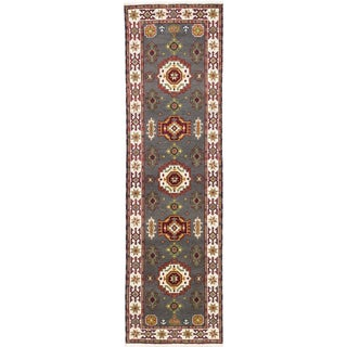 ecarpetgallery Hand-knotted Royal Kazak Gray/ Multi Wool Rug (2'10 x 9'9)