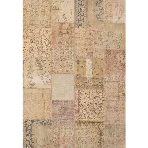 ecarpetgallery Hand-knotted Sunwash Patch Beige/ Yellow Wool Rug (6'8 x 9'9)