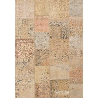 ecarpetgallery Hand-knotted Sunwash Patch Beige/ Yellow Wool Rug (6'8 x 9'10)