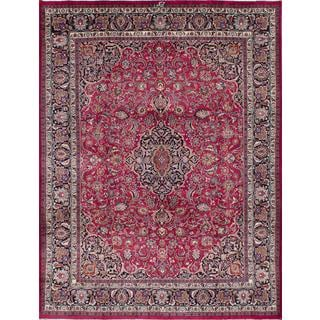 ecarpetgallery Hand-knotted persian Mashad Red Wool Rug (9'8 x 12'4)