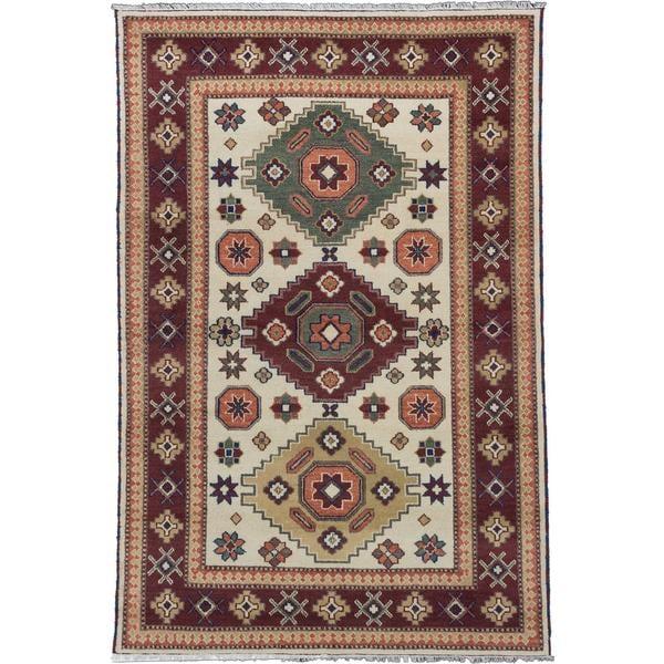 ecarpetgallery Hand-knotted Royal Kazak Beige/ Red Wool Rug - 6'8 x 10'