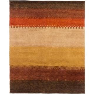 ecarpetgallery Hand-knotted Indian Gabbeh Orange/ Yellow Wool Rug (7'7 x 9'6)