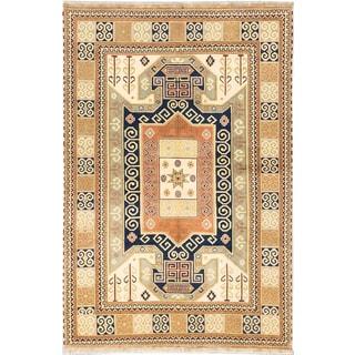 ecarpetgallery Hand-knotted Finest Kazak Beige/ Brown Wool Rug (6'7 x 10')