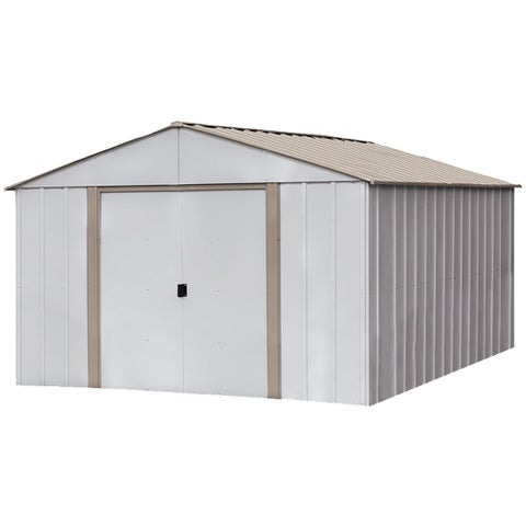 """Arrow Oakbrook Galvanized Steel Shed 10' x 14' with 62"""" Wall Height With sliding doors / OB1014-C1"""