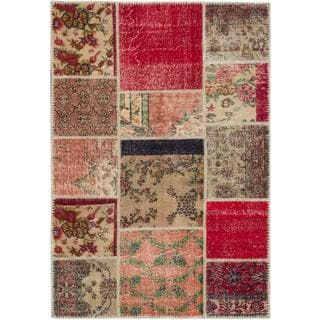 ecarpetgallery Hand-knotted Sunwash Patch Brown/ Red Wool Rug (4'9 x 6'11)