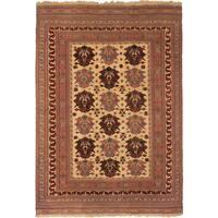 ecarpetgallery Handmade Ghafkazi Brown/ Yellow Wool Sumak Rug