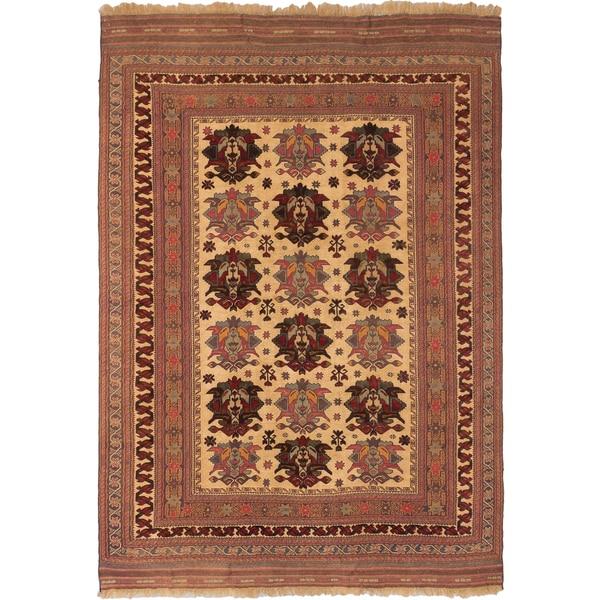 ecarpetgallery Handmade Ghafkazi Brown/ Yellow Wool Sumak (6'7 x 9'2)