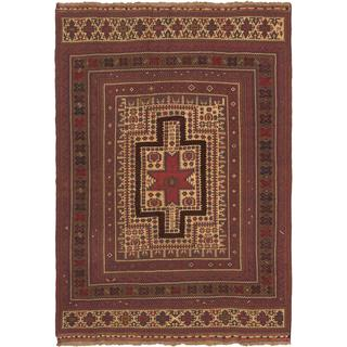 ecarpetgallery Handmade Ghafkazi Red/ Yellow Wool Sumak (6'0 x 8'5)