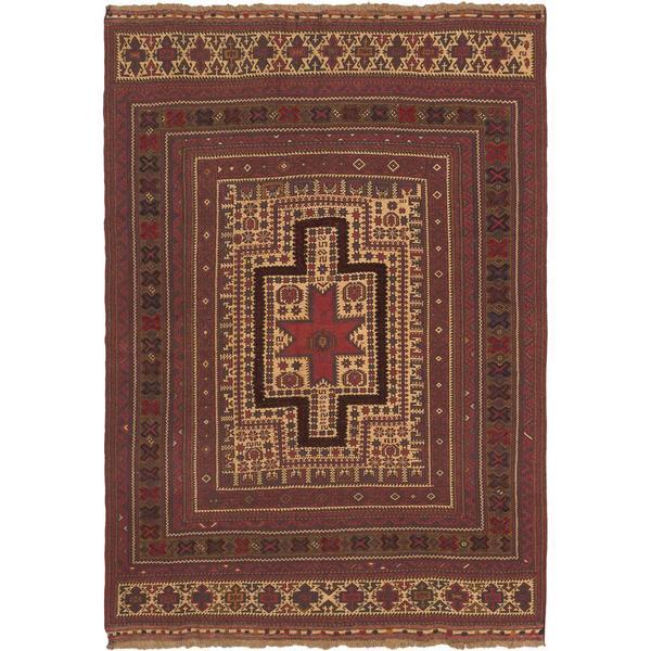 ecarpetgallery Handmade Ghafkazi Red/ Yellow Wool Sumak Rug
