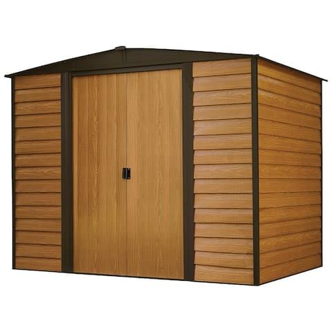 Woodridge 8 x 6 ft. Steel Storage Shed Coffee/Woodgrain - 8x6