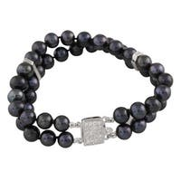 Double Row Black Pearl and Cubic Zirconia Bracelet (7-8mm)